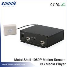 Human body sensor full hd NAND FLASH 8G digital signage box usb media player