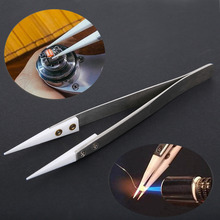 High Quality Stainless Steel Ceramic Tweezers Heat Resistant Non Conductive Ceramic Pointed Tip DIY Tools(China)