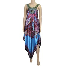 Mr Hunkle Women's Vintage African Dress Spaghetti Strap Diamonds Sexy Night Club Vestidos Loose Dashiki Dresses Beach Dresses(China)