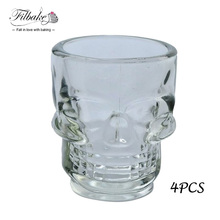 4 X Creative Crystal Skull Head Brandy Snifters Vodka Whiskey Strong Drink Shot Glass Cup Mug Drinking Ware Skull Shot Glass
