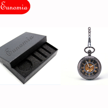 Transparent Black Roman Numbers Key Chain Men Mechanical Pocket Watch Automatic Slef - Wind Round Analog Luxury Gift Watch PW419