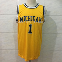 2017 New #1 Jamal Crawford Michigan Wolverines College Throwback Basketball Jersey Stitched any Number and name(China)