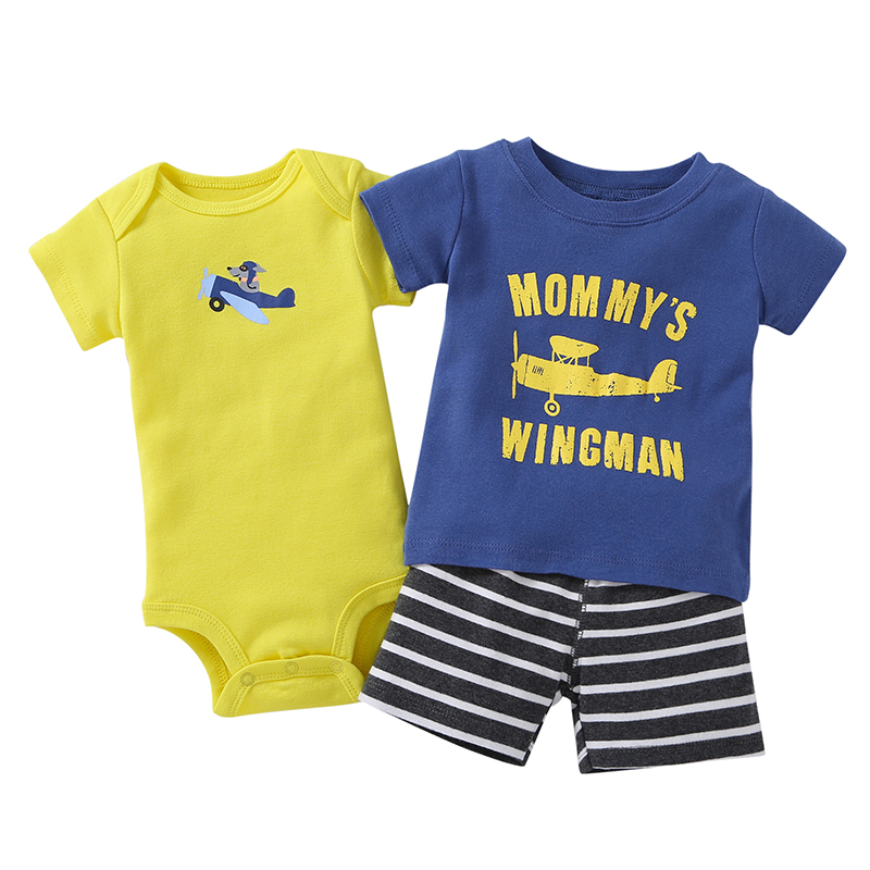 newborn clothes boy summer set cotton o-neck T-shirt+bodysuit+shorts fashion 2019 3 pieces outfit for 6-24 month infant baby