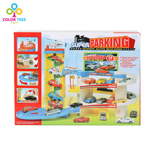Car Track Set Parking Garage With Car Model Helicopter Toys for Children(China)