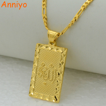 Anniyo Prophet mohammed allah pendant necklace women men gold color jewelry middle east/muslim/Islamic arab ahmed(China)