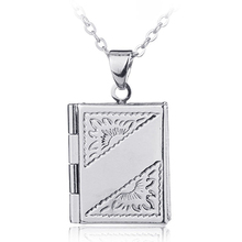 Unisex Book Rectangle Photo Locket Square Box Pendant Chain Necklace Jewelry