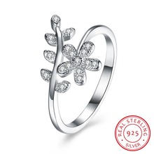 925 Sterling Silver Sparkling FLOWER LEAVES SILVER RING WITH CUBIC ZIRCONIA for Women Original Jewelry  suti