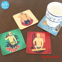 4 Sexy Muscle Man Wood Coasters Drink Coasters Cup Mat Placemats for Table Decorations Custom 10*10cm Creative Gifts