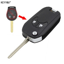 KEYYOU 2 Button Smart Flip Folding Remote Key Case Shell Fob For NISSAN Cube Micra Qashqai Juke With LOGO