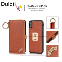Dulcii Case for iPhone 8 plus 7 8 luxury Multi-functional PU Leather Wallet + Inner Removable Back Cover for iPhone X Brown(China)