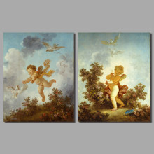 Art oil baby children living room kids decoration Angel Cupid canvas birds painting printed wall art picture home decor unframed