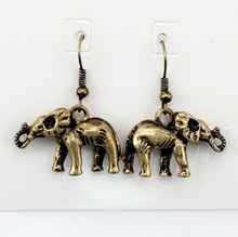 6 pair /lot fashion jewelry accessorie hm vintage metal elephant earrings