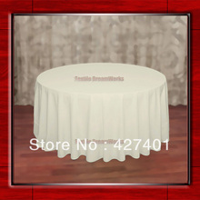 "Hot Sale  132"" R Ivory Round Table Cloth Polyester Plain Table Cover for Wedding Events &Party Decoration(Supplier)"