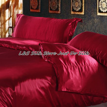 Free shipping 4pcs luxurious Silk bedding sets duvet cover wine red 100% mulberry silk dyed fabric 16.5 mm king queen Full Twin