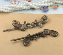 17x62mm Blank Bobby Pins Bases Settings Filigree Flower pads Hair Clip Hairpins Crafts DIY Findings Silver/ bronze tone