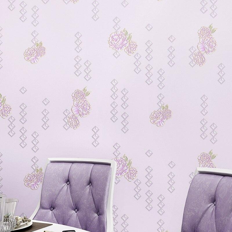 2016 modern romantic rural non-woven wallpaper Girls bedroom flower wallpaper purple pink<br><br>Aliexpress