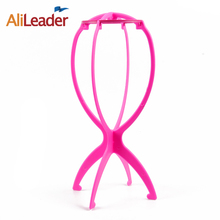 Factory Promotion Sale Ajustable Wig Stand Portable Folding Plastic Wig Holder 1PC Black/Pink Mannequin Head Stand About 18x36Cm(China)