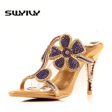 Hollow Flowers Rhinestone High-heeled Slippers Summer Sexy High Heel Shoes Sandals New Leather Designer Pumps Gold Wedding Shoes
