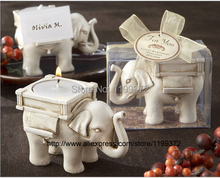 50pcs/lot Newest Lucky Elephant Antique-Ivory Candle and Card Holder Wedding Favors and Baby Gift Tea Light Candle Favor Party(China)