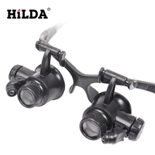 HILDA 20X LED Double Eye Repair Magnifier Glasses Mini Loupe Lens Magnifying Glas with Light Watch Microscope Measurement Tools(China)