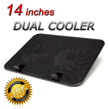 Ergonomic 14 inch usb power laptop cooler heatsink base 2 fan notebook cooling pad Computer Fan Base 140mm strong cool stand(China)