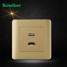 86mm luxury champagne high definition HDMI and mobile usb charge wall switch socket
