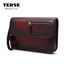 TERSE_Luxury Brand Mens Fashion Clutch Bag 100% Handmade Genuine Leather Document Engraving Bag For Male Custom Service 4 Colors(China)