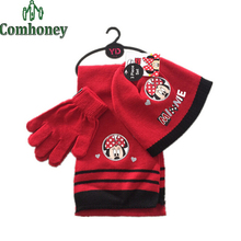 Baby Hat Cap + Scarf + Gloves 3 pcs Set Minnie Mouse Winter Hat for Girls Knitted Children Caps Cute Kids Baby Accessories