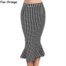 Fun Orange Womens Summer Vintage Houndstooth  Elastic Work Office Party Slim Trumpet Skirt Bodycon Mermaid Pencil Midi Skirt