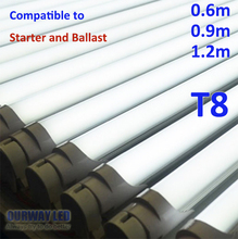 compatible T8 LED tube 2' 3' 4' perfect to use into traditional fluorescent light fixture, no need to remove starter or ballast
