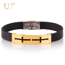 U7 New Design Trendy 2 Colors Quality Gold Color Titanium Steel Fashion Leather Jewelry Cross Bracelet Bangle H456(China)
