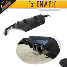 5 Series Carbon fiber rear bumper Lip Spoiler diffuser for BMW F10 M Sport Tech 2012-2014 D Style Grey FRP dual exhaust two out