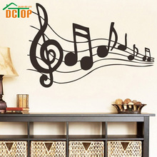 DCTOP Music Note Sheet Music Art Wall Sticker Vinyl Removable Home Decor Hollow Out Wallpaper For Living Room Kids Bedroom(China)