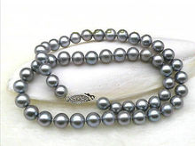 stunning 10-11mm natural south sea round grey pearl necklace 18'' >Selling jewerly free shipping