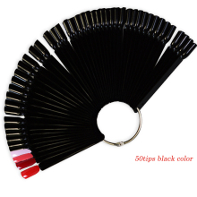 STZ 50tips New Black Colors Fan Board False Nail Art Tips Display Practice UV Gel/Polish/Rhinestones/Glitter Powder Tool ND293