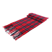 Women Cashmere Scarf Plaid Winter Autumn Warm Thick Comfort Pashmina Cape Long Scarf Red Wrap Shawl Foulard Scarves(China)