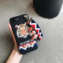 Europe Animal Tiger & Rabbit Stud Rivet Wrist Strap Case Case for Apple iPhone 7 Case for iPhone7 6 6S PLus Soft TPU Cover