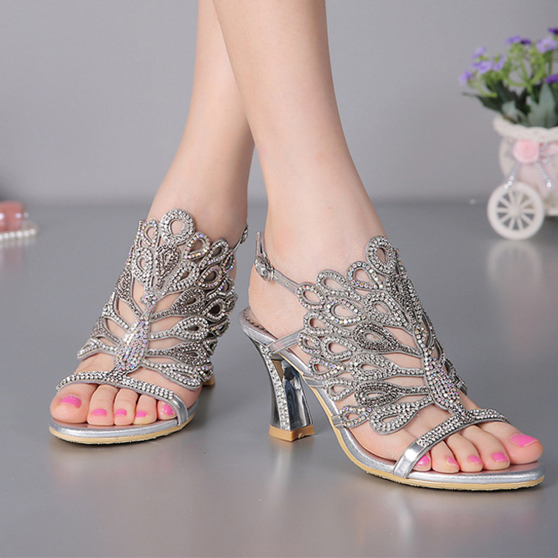 Luxurious  Silver Rhinestone Genuine Leather High Heels Wedding Dress Shoes Summer Sandals Chunky Heel Floral Formal Dress Shoes<br><br>Aliexpress