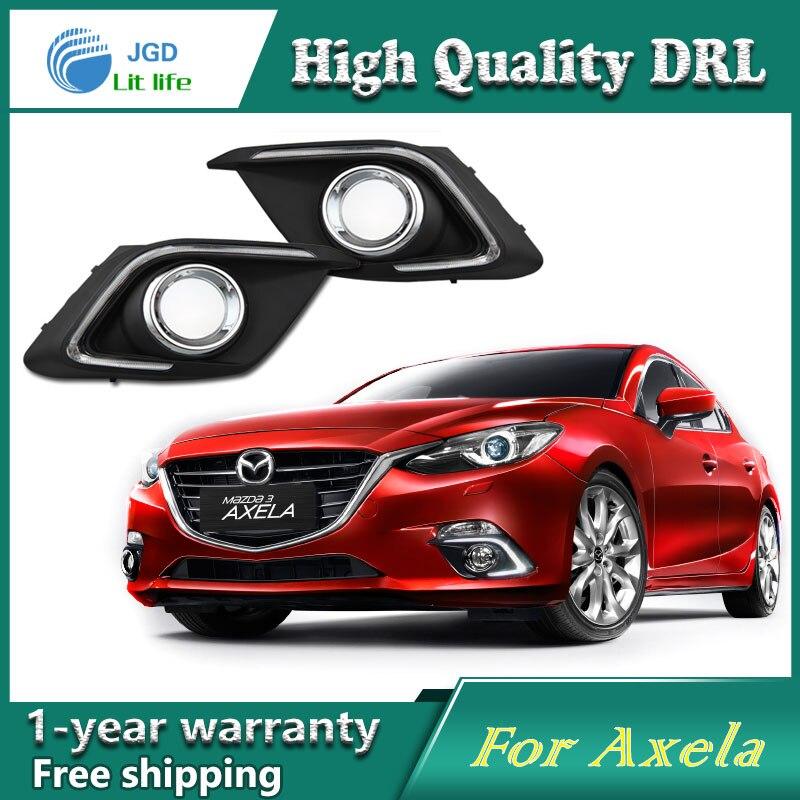 high quality !12V 6000k LED DRL Daytime running light case for Mazda 3 axela 2014 2015 fog lamp frame Fog light Car styling<br>