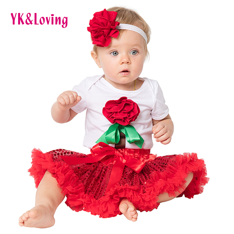 Sequin Birthday Clothes Sets Baptism Romper Outfit for Baby Girl Red Christening Party Skirt Wedding for Infant Flower HeadbandA<br><br>Aliexpress