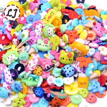 wholesale 50/100/200/300pcs random mixed plastic button for kids sewing buttons clothes accessories crafts child cartoon button(China)