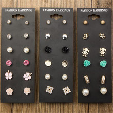 9 Pair /Lot Claire Fashion Accessories Classic Crystal Stud Earrings Set For Women Pearl Rose Flower Clover Jewelry Wholesale