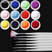 12 Pure Color Nail Art UV Gel And 7 Pcs Cosmetic Draw Pen Brush Tips Tools Solid Extension Manicure set For Builder Polish Lamp