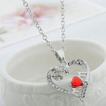New Lovely Mom Red Crystal Necklace Love Heart Rose Flower Silver Plated Pendant Necklace Mother Gift  Jewelry