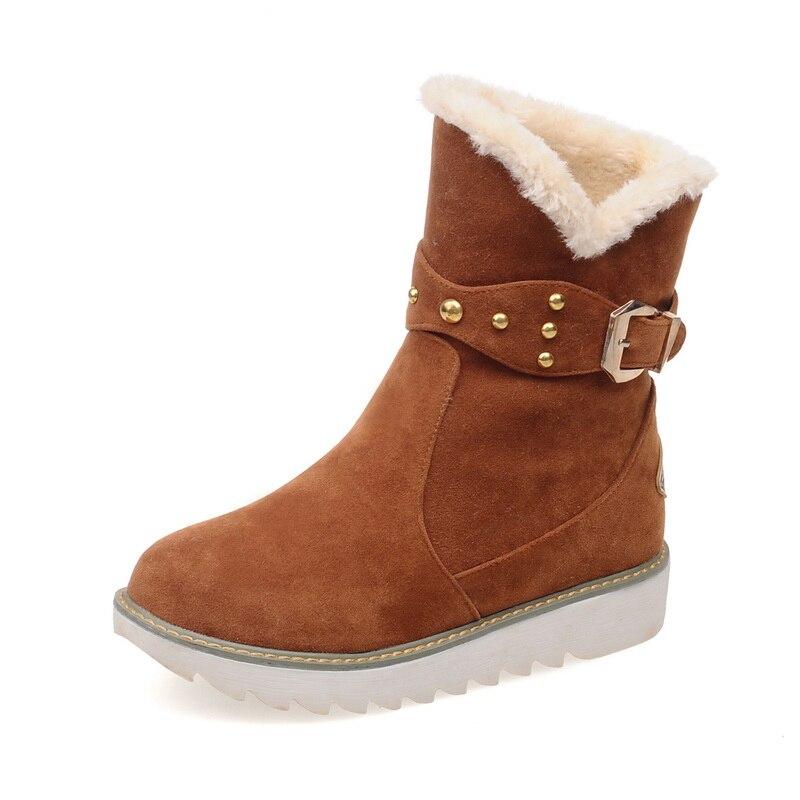 Big size women winter boots fashion warm bottes femmes 2017 plush warm ankle winter shoes soft flock Black flat ladies boots<br><br>Aliexpress