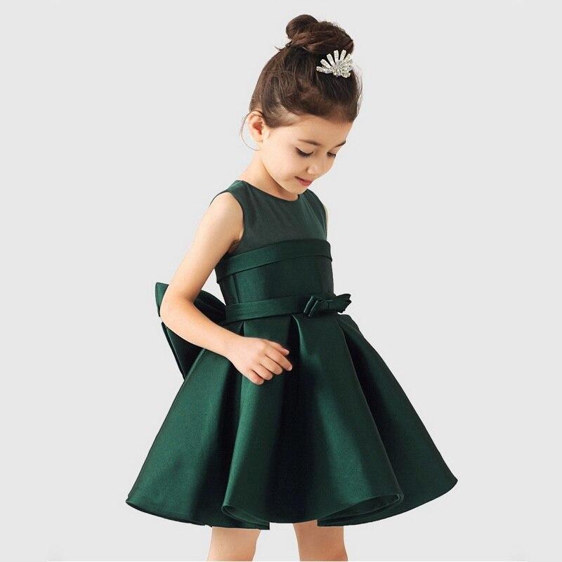2017 Brand Flower Girl Dress for Wedding Solid Bow Design Sleeveless Children Formal Clothes Kids Elegant Dresses, HC752<br><br>Aliexpress