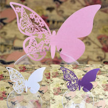 50pcs/lot Butterfly Place Escort Wine Glass Cup Paper Cards for Wedding Party Home Decorations White Blue Pink Purple Name Cards