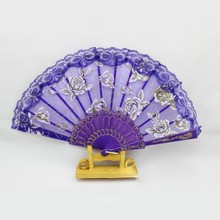 Wholesale Floral Lace Tulle Hand Fan Folding Wedding Birthday Party Wedding Decor Manual Fans