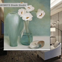 MOMO Blackout Rhyme Window Curtains Roller Shades Blinds Thermal Insulated Fabric Custom Size, Alice 418(China)