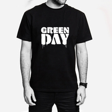 Green Day Man Letter Print T-shirt Black Tshirt Novel Swag Tee Male Anime Comics Clothes T-shirts Rock Punk Music American